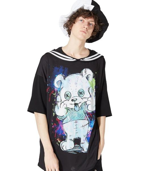 ふぁっく!ベアーラインセーラーTシャツ -メガビッグ-