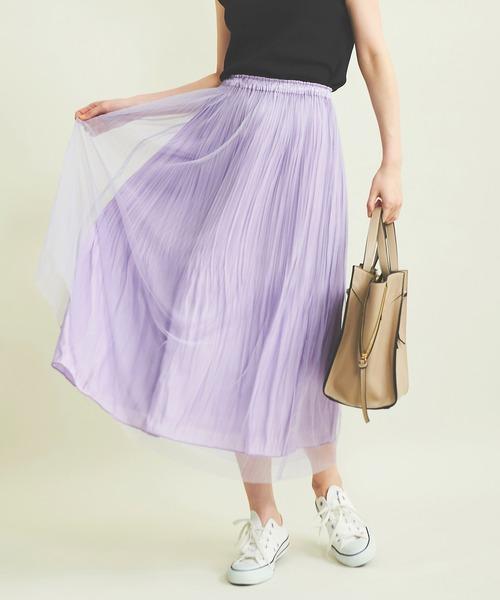 The Virgnia(ザ ヴァージニア)の「グロッシーチュールプリーツスカート(スカート)」|ラベンダー
