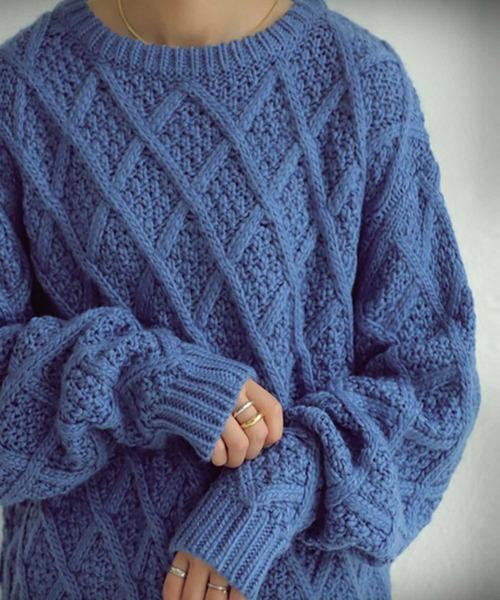 antiqua(アンティカ)の「デザイン編地ニット(ニット/セーター)」 ブルー系その他