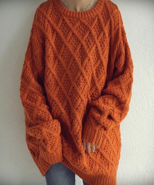 antiqua(アンティカ)の「デザイン編地ニット(ニット/セーター)」 オレンジ