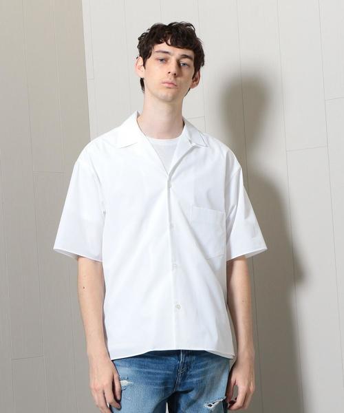 <H>THOMAS MASON WHITE OPEN COLLAR SHORT SLEEVE SHIRT/シャツ