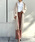 YANUK(ヤヌーク)の「コーデュロイ ハイライズ ストレート ウォームパンツ(その他パンツ)」|スモークピンク