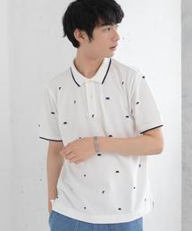 総柄ベア刺繍ポロシャツ