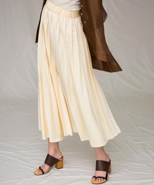 MAISON SPECIAL(メゾンスペシャル)の「サテンプリーツスカート【MAISON SPECIAL/メゾンスペシャル】(スカート)」|イエロー