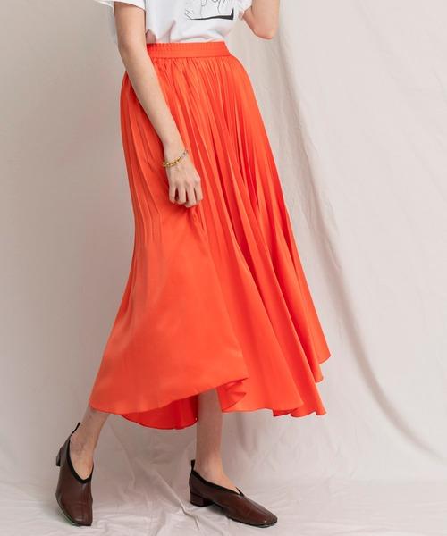 MAISON SPECIAL(メゾンスペシャル)の「サテンプリーツスカート【MAISON SPECIAL/メゾンスペシャル】(スカート)」|オレンジ