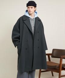 エクストラビッグシルエットメルトンダブルチェスターコート EMMA CLOTHES 2020AWダークブルー