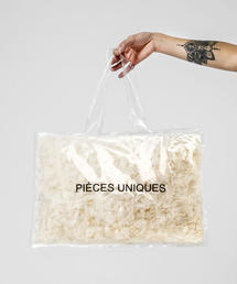 <PIECES UNIQUES> TRNSPRNT PRINTED BAG/トートバッグ ◆