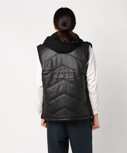 JAXSON QUILTED FAUX-LEATHER HOODED VEST