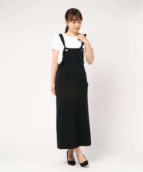 NINE(ナイン)の「ハイゲージニットスカート(スカート)」|ブラック