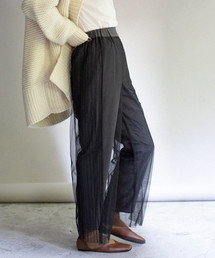 Eimee Law(エイミーロウ)のチュール重ね脇プリーツイージーパンツ(パンツ)