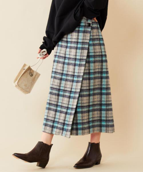 BY∴ チェックシャギーラップスカート ◆