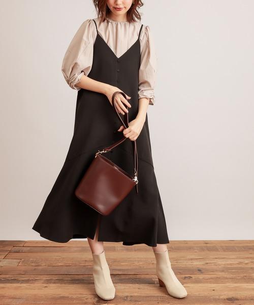 natural couture(ナチュラルクチュール)の「【WEB限定】前後2WAYちび釦キャミワンピース(ワンピース)」|ブラック