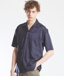 MYSELF ABAHOUSE(マイセルフアバハウス)のバイヤスストライプオープンカラーシャツ(シャツ/ブラウス)