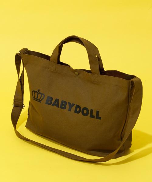 BABYDOLL(ベビードール)の「A4サイズ対応 2way王冠ロゴトートバッグ 1845(ショルダーバッグ)」|カーキ
