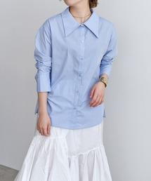でか衿/ワイドカラー/ビックカラーシャツサックスブルー
