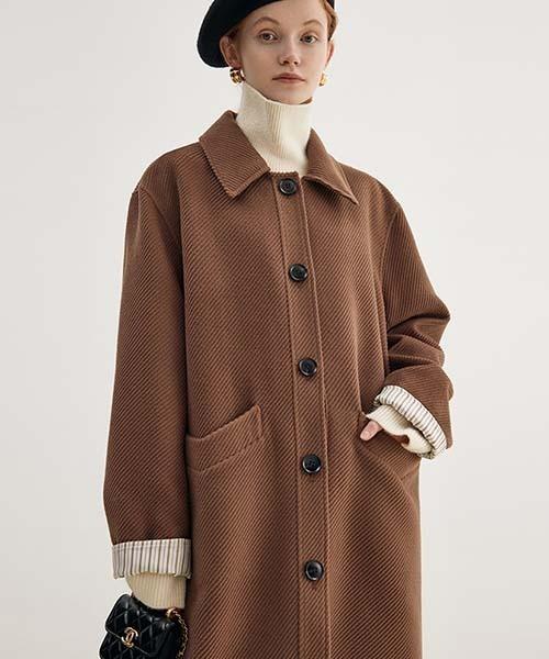 【Fano Studios】【2021AW】Bal collar stripe liner coat FQ21W089