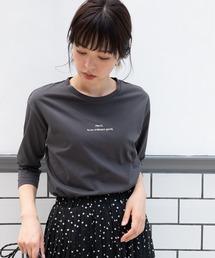 TIENS ecoute(ティアンエクート)のフロッキーロゴ7分袖ロンT(Tシャツ/カットソー)