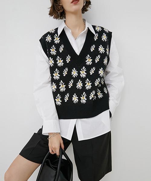 【Fano Studios】Flower jagard knit vest FX20S268