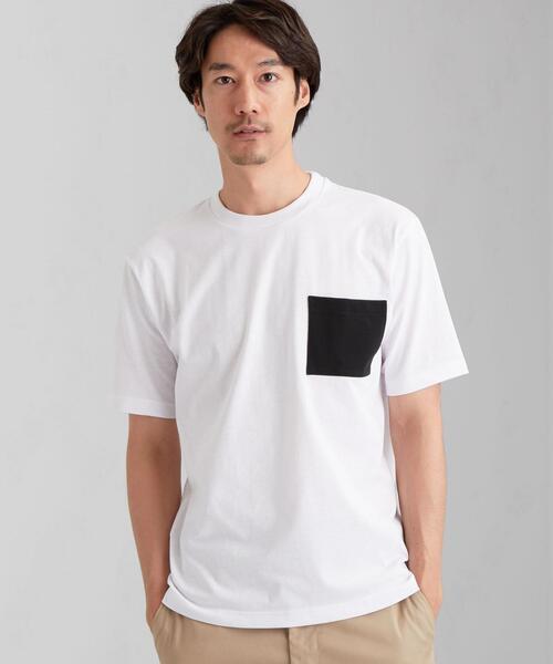 < 機能性 / 吸水速乾 > ★★ ドライ コンビ ポケット クルーネック Tシャツ #