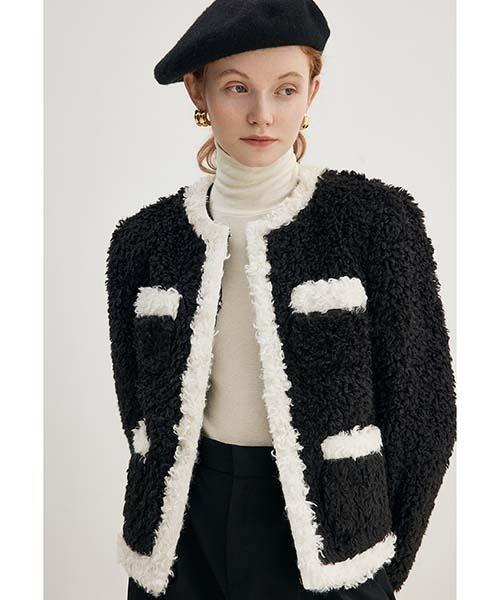 【Fano Studios】【2021AW】Contrasting color long fur jacket  FD21W034