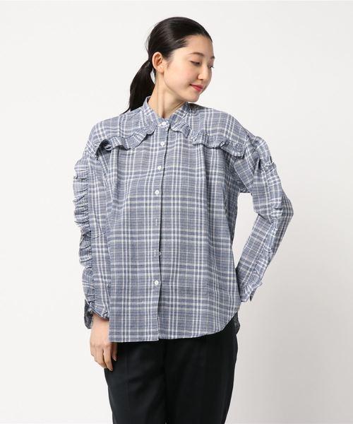 フリルチェックシャツ