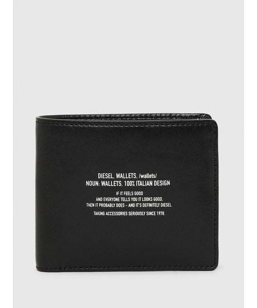 DIESEL(ディーゼル)の「メンズ テキストデザイン レザー 二つ折り財布(財布)」 ブラック