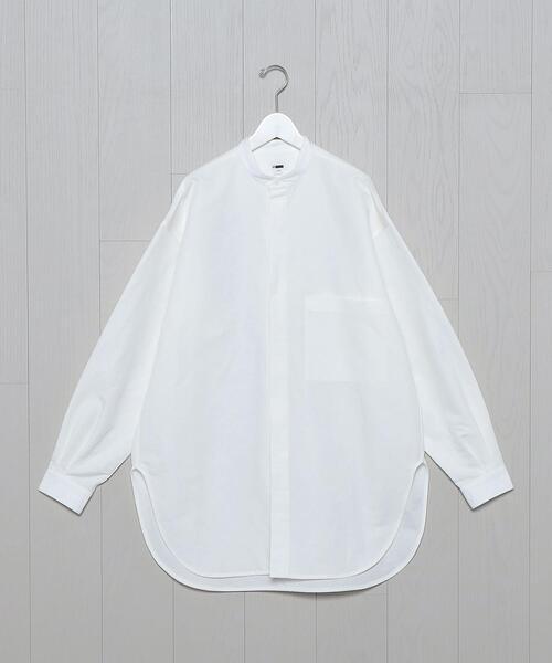 <H>BAND COLLAR LONGER SHIRT/シャツ