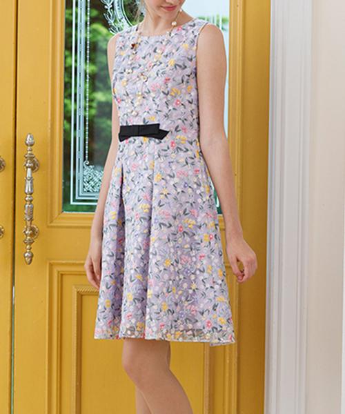 7a4b80f13e9af Rose Tiara(ローズティアラ)のチューリップ柄オーガンジー刺繍ワンピース(ドレス)