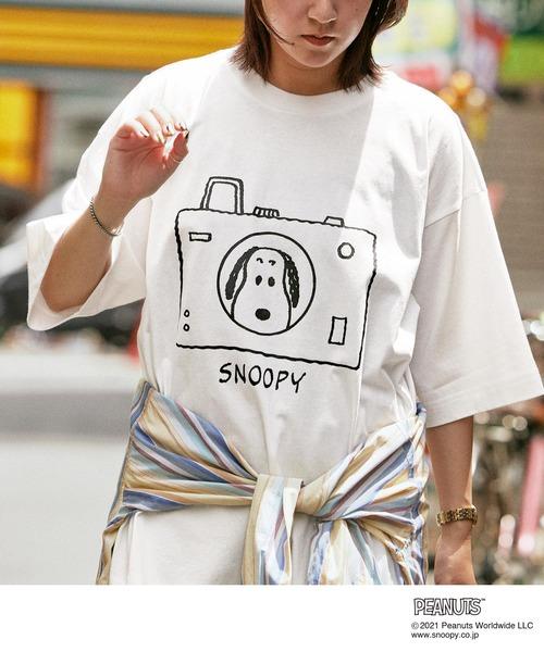 PEANUTS/ピーナッツ 別注 オーバーサイズ 線画デザイン 半袖Tシャツ
