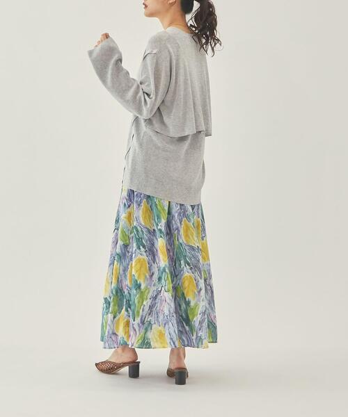 【EMMEL REFINES】【手洗可能】EM HW ボカシプリント ロングスカート