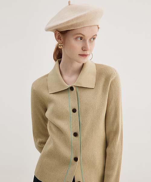 【Fano Studios】【2021AW】Rib knit collar cardigan FD21S022