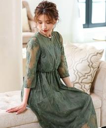 レディースのドレス グリーン カーキ 緑色系 ファッション通販
