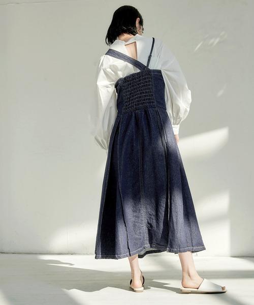 【EMMA】デニムカツラギタックジャンパースカート