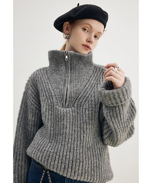 【Fano Studios】【2021AW】Big polo collar zipper knit FD21S061