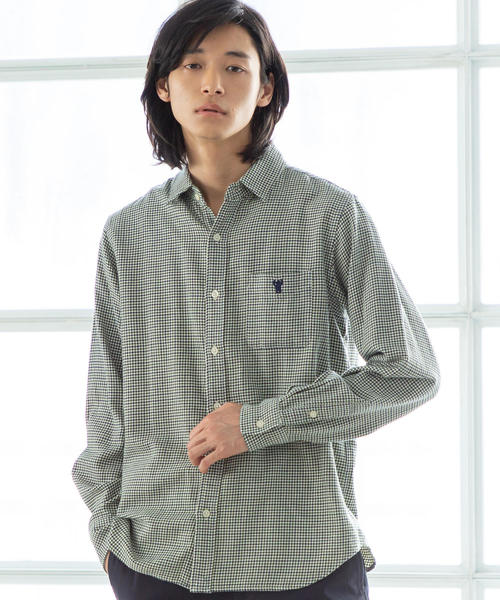 ハウンドトゥースレギュラーカラーシャツ