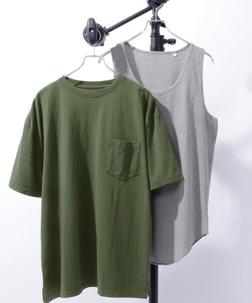 レイヤード オーバーサイズ 半袖Tシャツ タンクトップ(アンサンブル) 半袖カットソー+ワッフルタンクトップ 2枚セット
