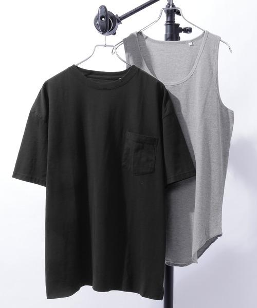 サーマルレイヤード オーバーサイズ 半袖Tシャツ&タンクトップ アンサンブル くすみカラー
