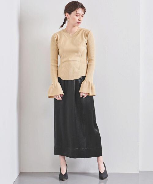 <SACRA(サクラ)>サテン ロングスカート