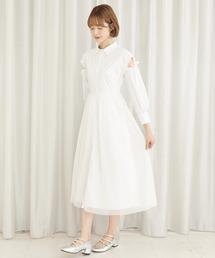 チュールレイヤードシャツワンピースオフホワイト