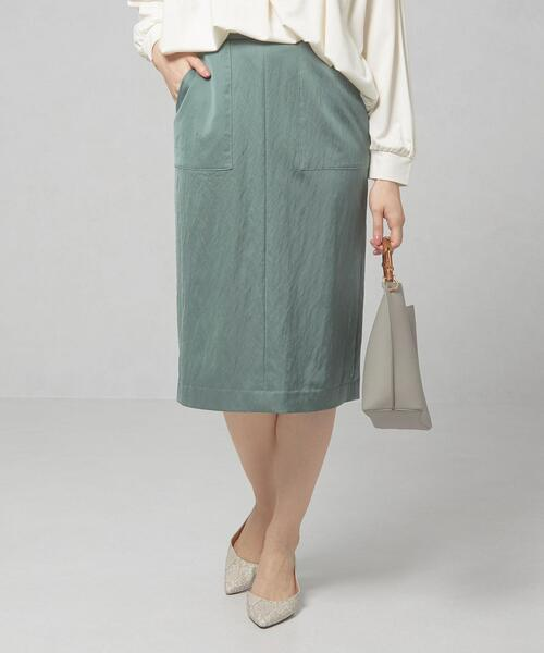 <closet story>□サテン ポケット タイトスカート -手洗い可能-