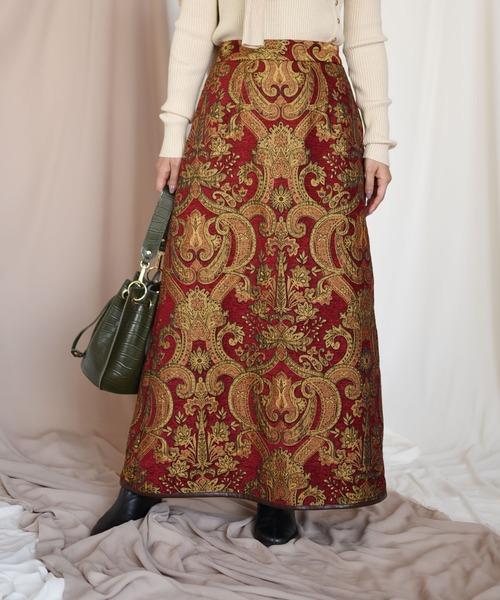 【Eimee Law】ダマスク柄モールJQパイピングポイントスカート