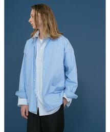 <monkey time> BROAD STRIPE LAYERED SHIRT COAT/レイヤードシャツ