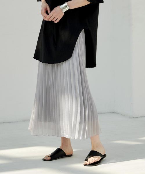 【EMMA】シャイニーポプリンプリーツスカート