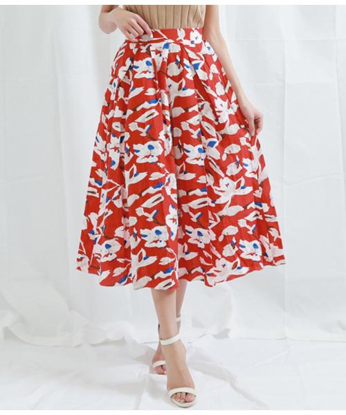 Settimissimo(セッティミッシモ)の「フラワーモチーフポイントカラーフレアスカート(スカート)」 レッド