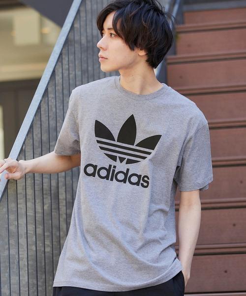 adidas/アディダストレフォイルロゴプリントTシャツ オーバーサイズカットソー