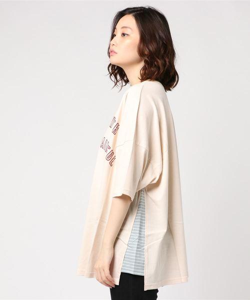 GROWTHpt脇ボーダー切替BIGTシャツ(KR)