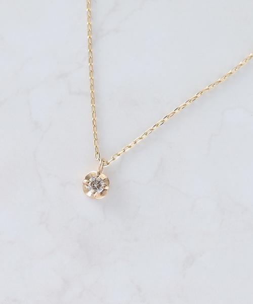 NOIR DE POUPEE(ノワールドプーペ)の「K10 ブラウンダイヤモンド 一粒 ネックレス(ネックレス)」|ブラウン
