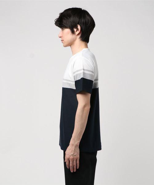 **オン ザ デイ メンズ:ドローエム/on the day:DRAW.M ヘリンボンパネルボーダークルーネック半袖Tシャツ