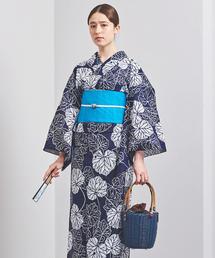 <竺仙(ちくせん)>石蕗 綿絽地染紺 浴衣