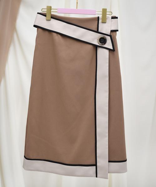 【Eimee Law】配色パイピングタイトスカート